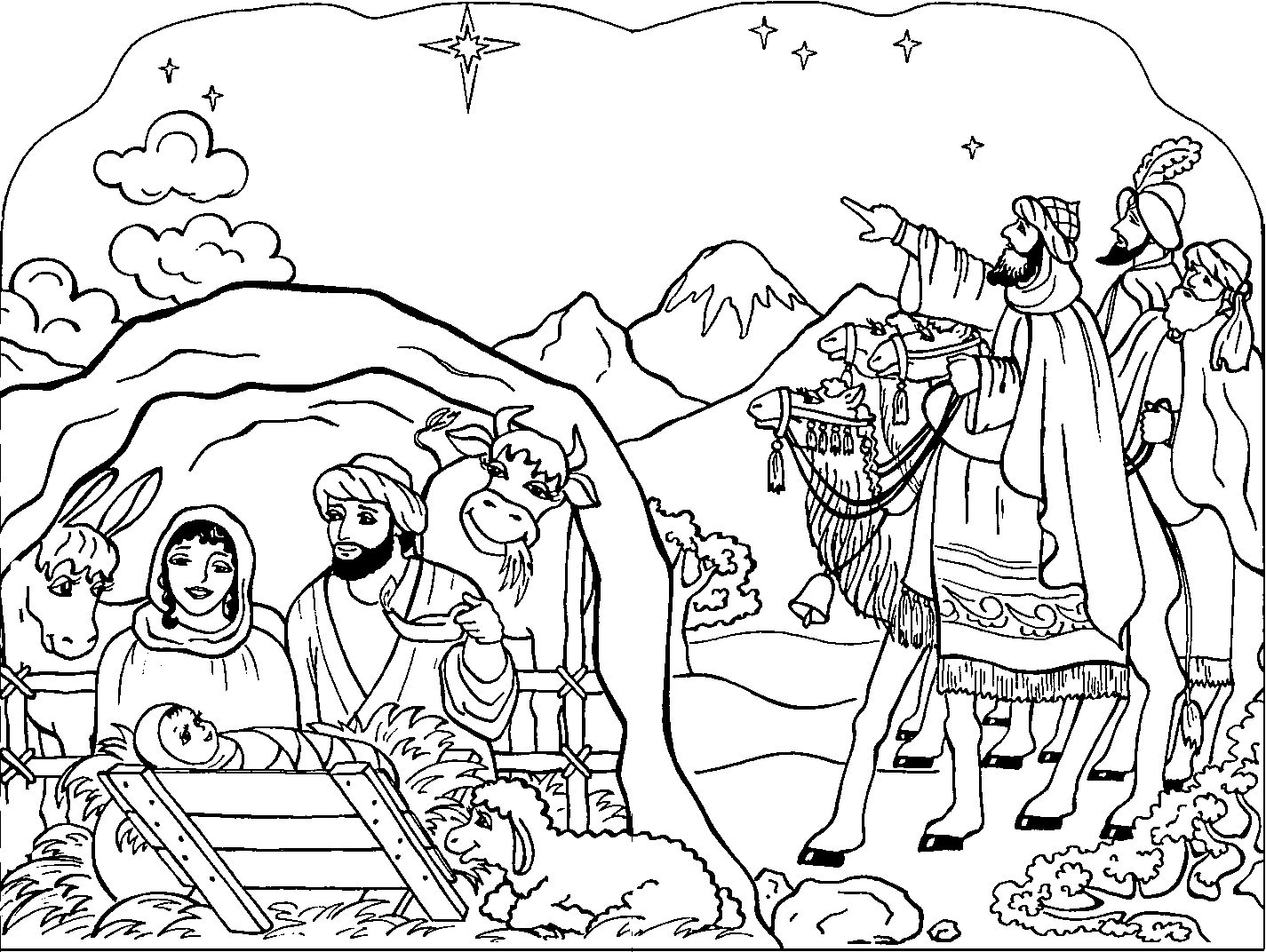 jesus birth coloring pages - jesus manger or crib coloring pages