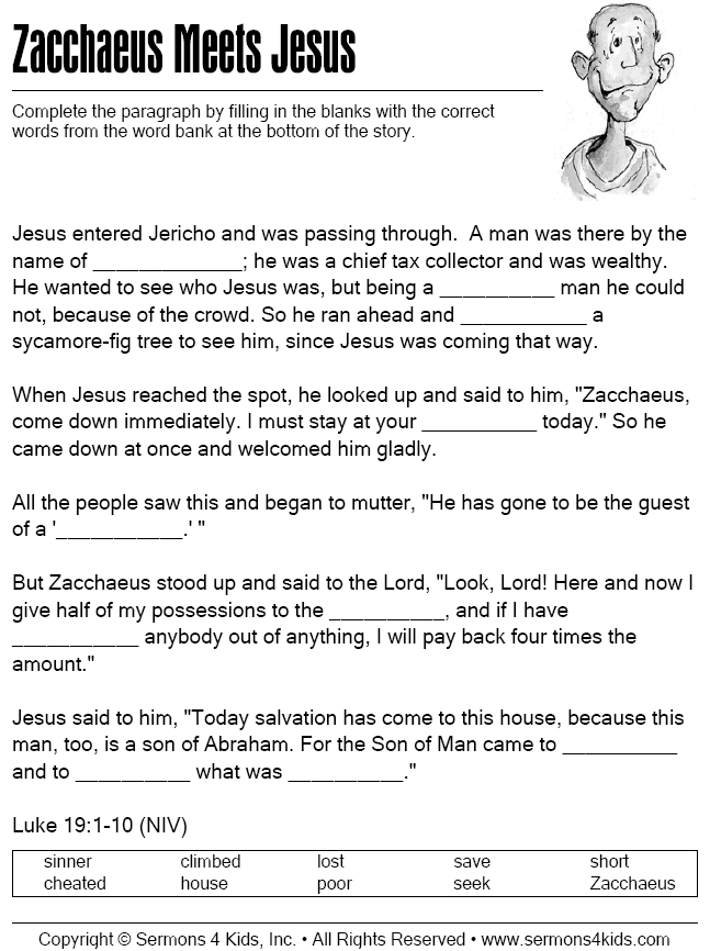 jesus birth coloring pages - zacchaeus cloze