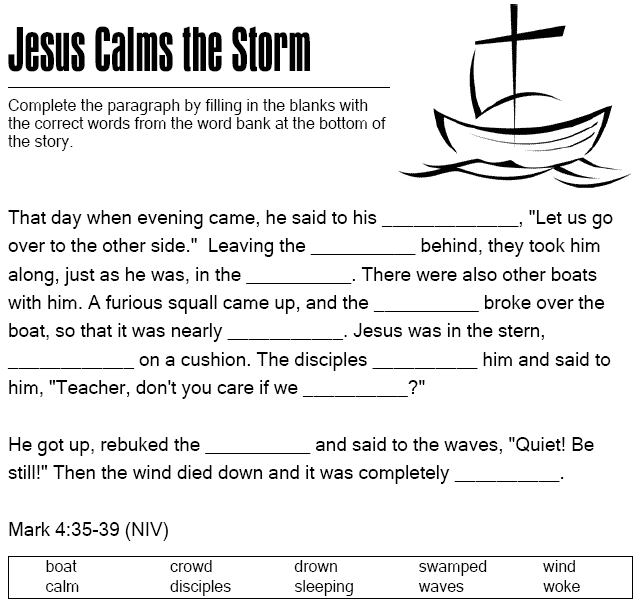jesus calms the storm coloring page - jesus calms the storm cloze