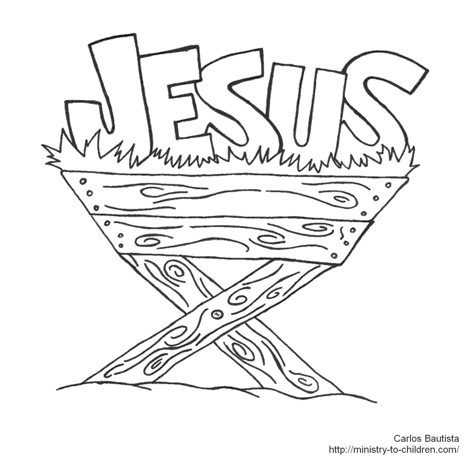jesus coloring pages - jesus in manger coloring page