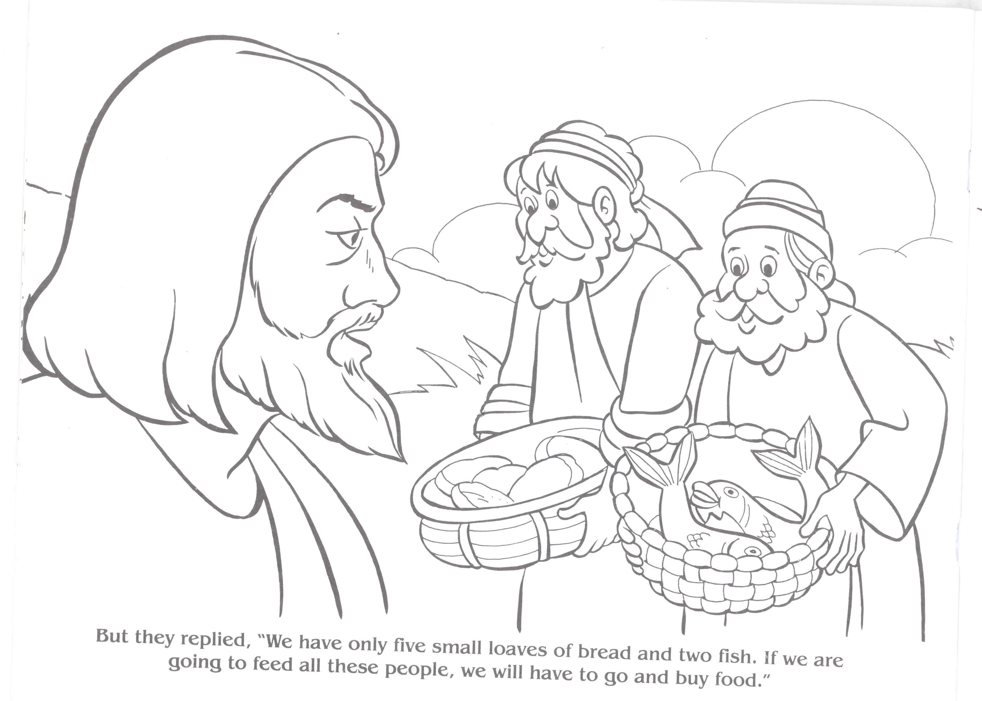 jesus feeds 5000 coloring page - coloring pages jesus feeds the 5000