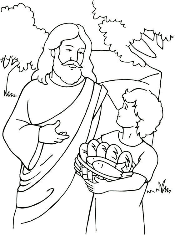 jesus feeds 5000 coloring page - feed 5000 colorpg