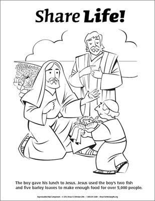 Jesus Feeds 5000 Coloring Page - Life Coloring Page Jesus Feeds 5000 Downloadable