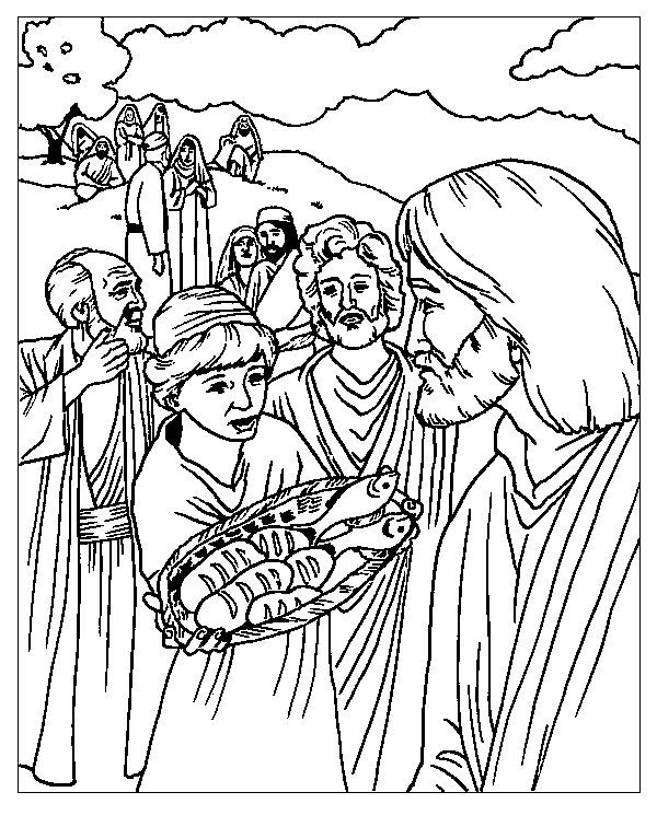 jesus feeds 5000 coloring page - miracles jesus coloring pages