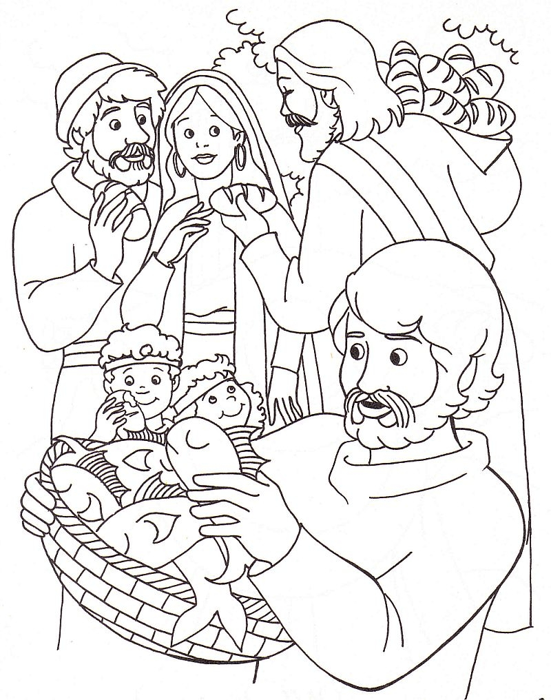 jesus feeds 5000 coloring page - sunday school coloring pages jesus feeds 5000