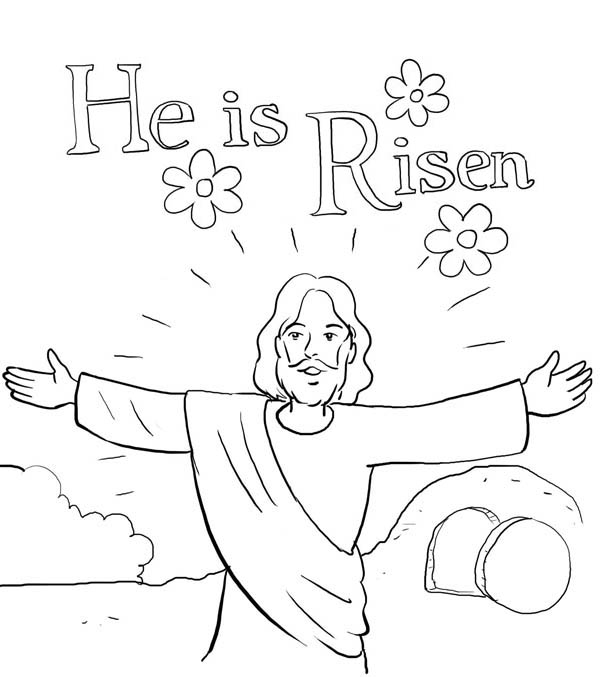 jesus is risen coloring page - he is risen in jesus resurrection coloring page
