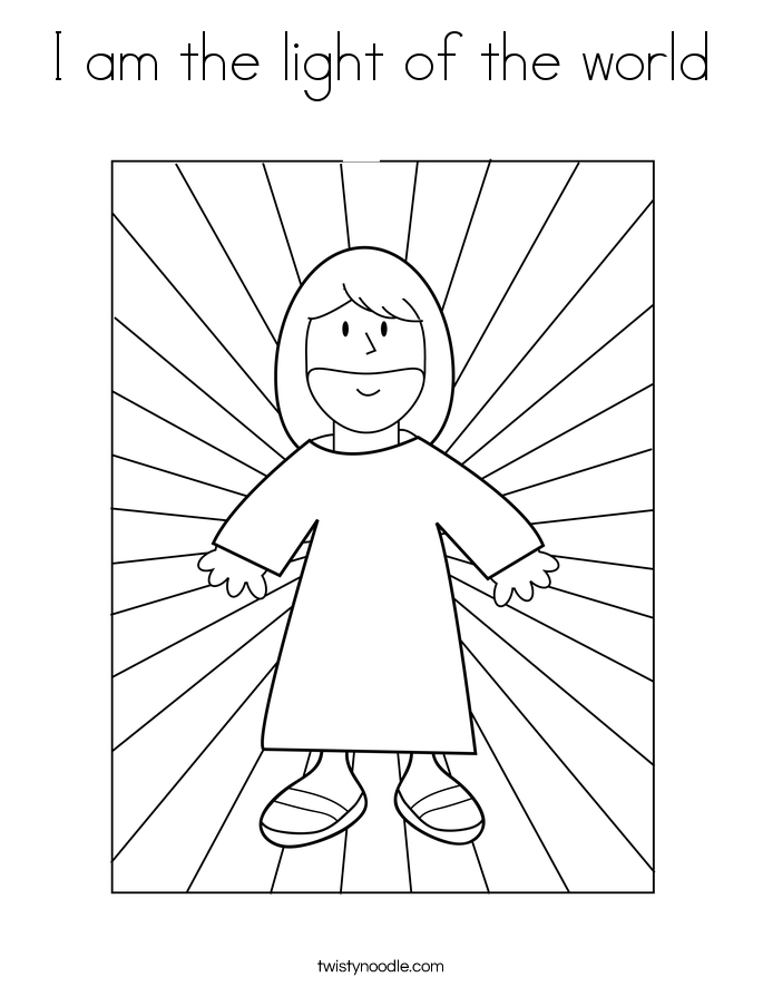 jesus is the light of the world coloring page - i am the light of the world coloring page