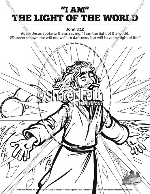 jesus is the light of the world coloring page - john 8 light of the world sunday school coloring pages