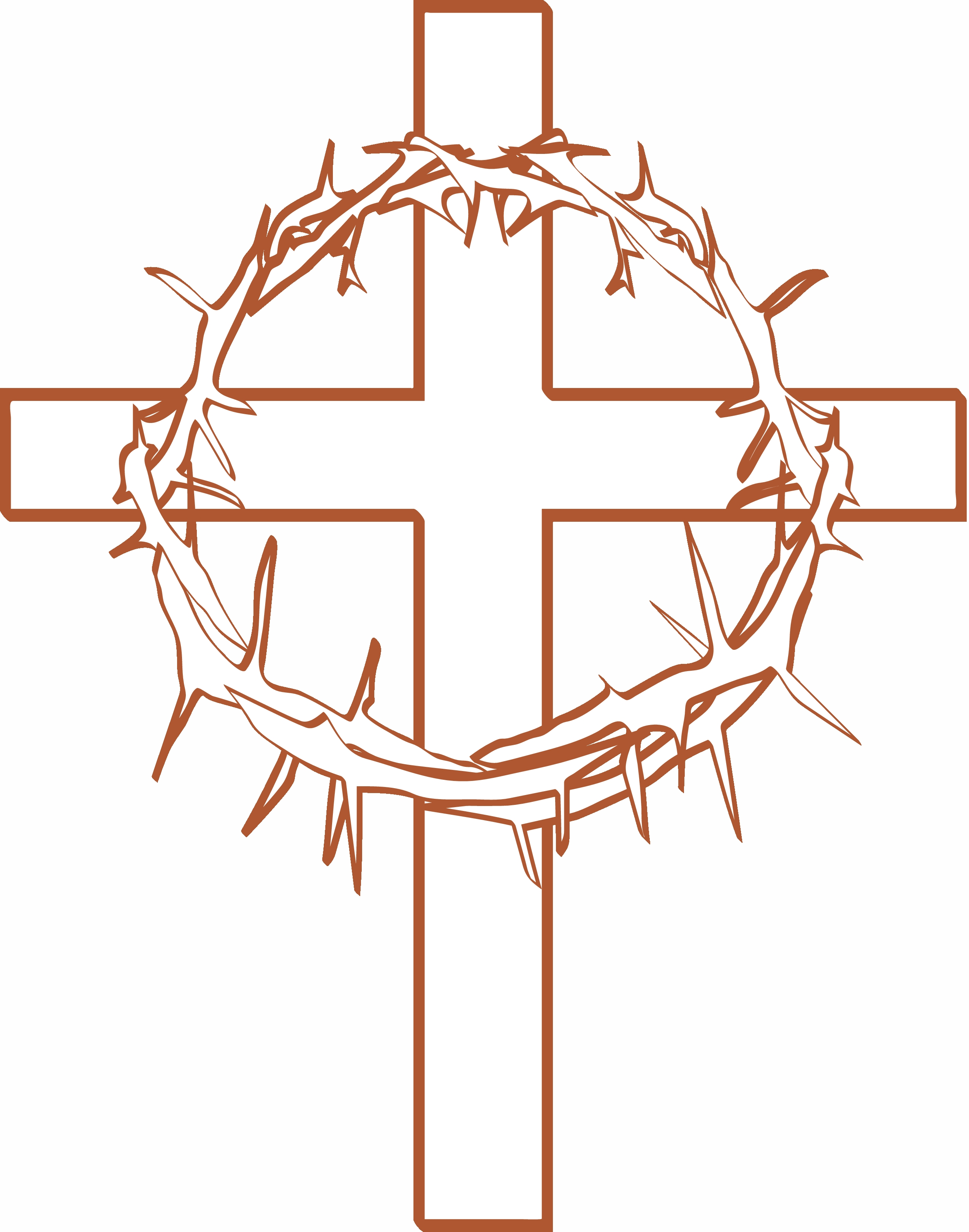 jesus on the cross coloring pages - cross with crown of thorns clipart