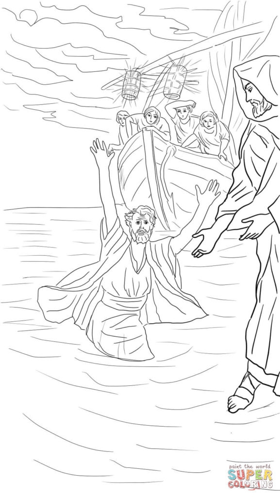 Jesus Walks On Water Coloring Page - Coloring Pages Peter Walks the Water Coloring Page