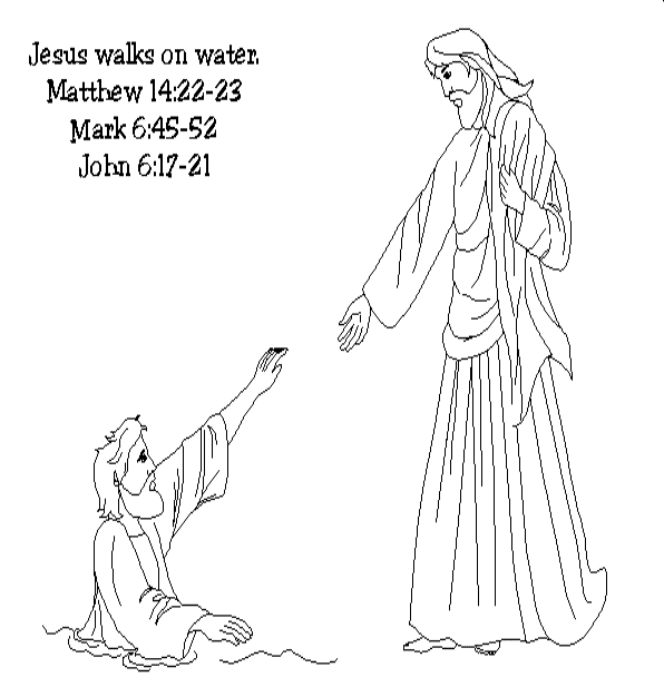 jesus walks on water coloring page - 5a75