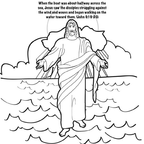 jesus walks on water coloring page - mc jesus walks on water