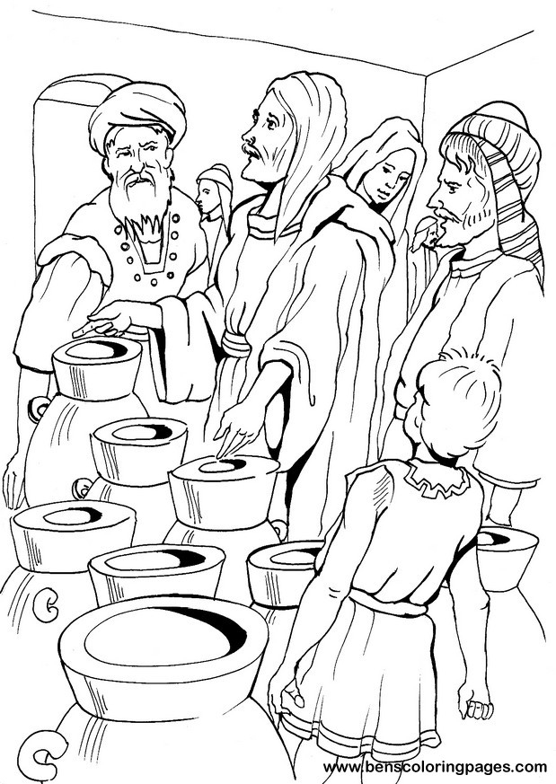 jesus walks on water coloring page - wedding at cana coloring page