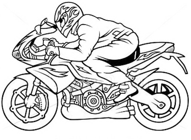 jet coloring pages - Moto e pilota con decal anie con fiamme