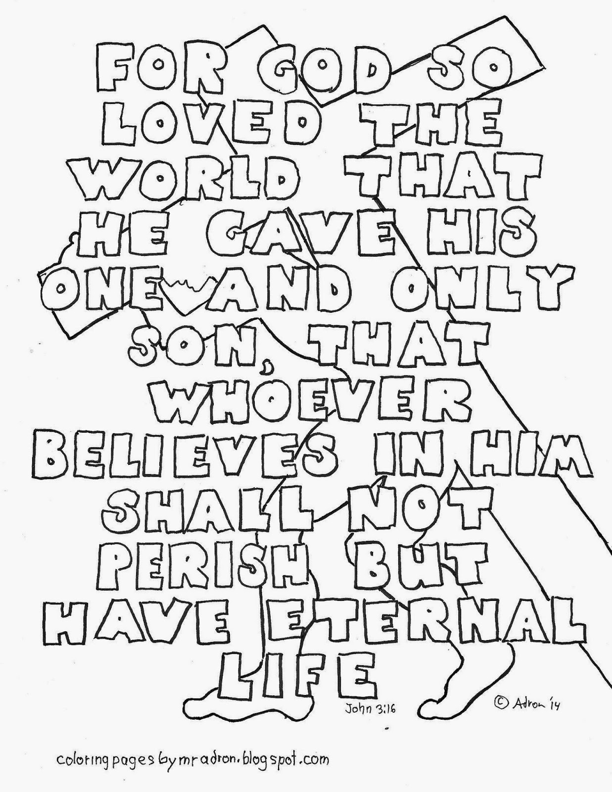 john 3 16 coloring page - john 316 coloring page with all words