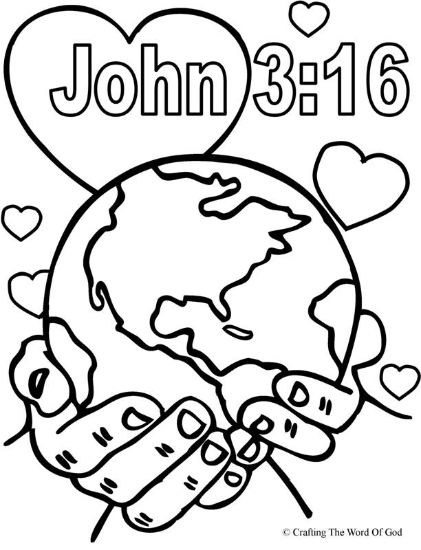 john 3 16 coloring page - god so loved the world coloring page