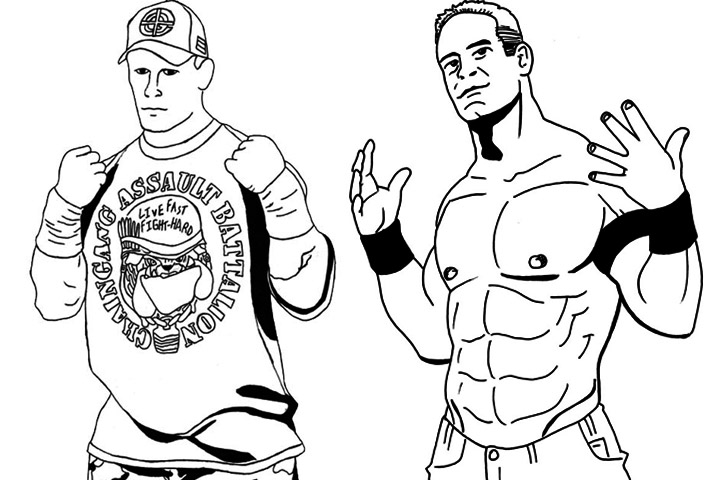 john cena coloring pages - john cena coloring easy sketch templates