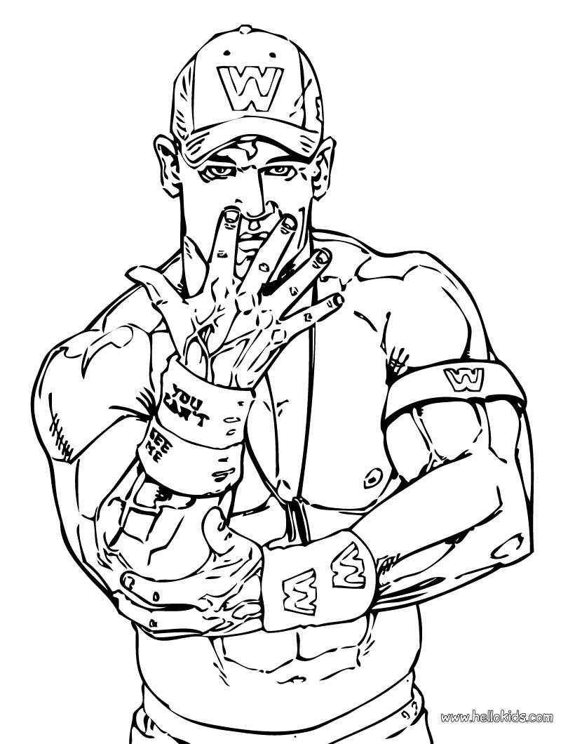 john cena coloring pages - wrestling wwe coloring pages free and printable