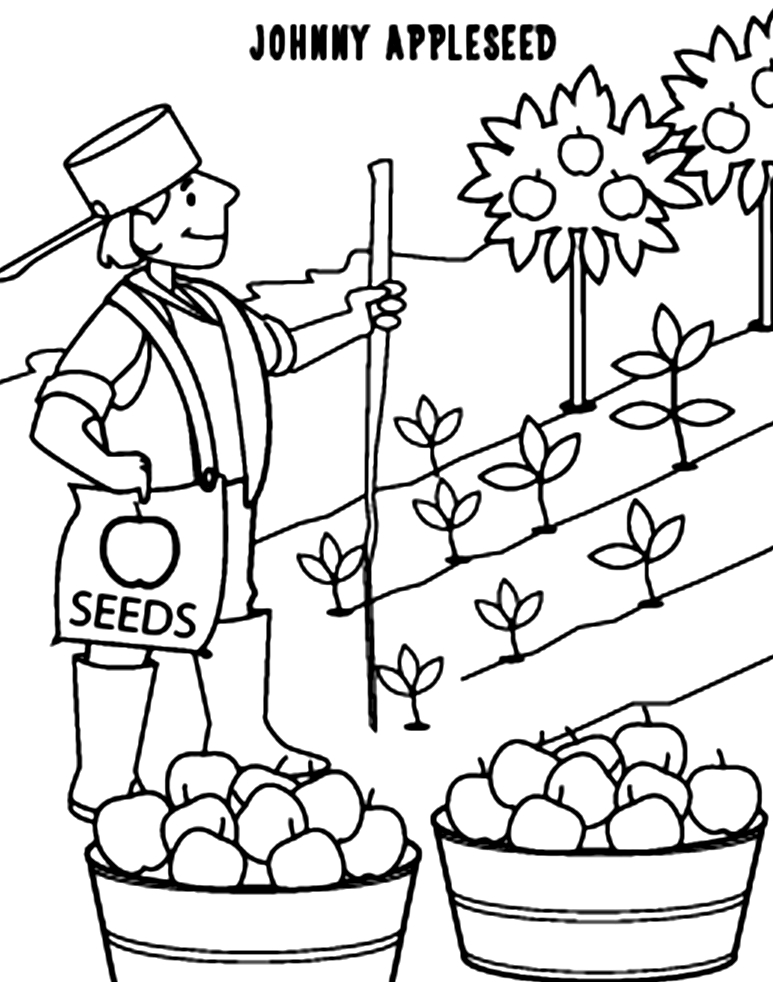 Johnny Appleseed Coloring Page - Free Printable Johnny Appleseed Coloring Pages Coloring Home