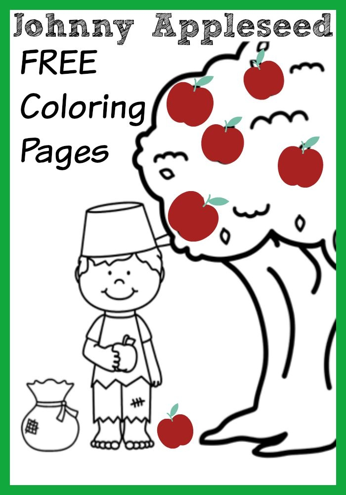 johnny appleseed coloring page - johnny appleseed apple themed coloring pages
