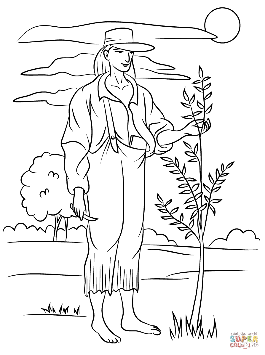 johnny appleseed coloring page - johnny appleseed