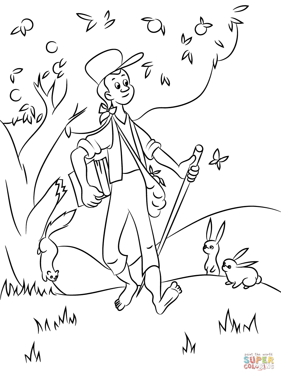 johnny appleseed coloring page - johnny appleseed with animals