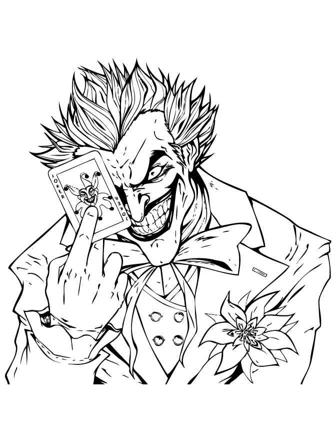 Joker Coloring Pages - Joker Holding Joker Playing Card Coloring Page