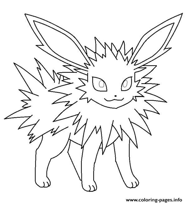 jolteon coloring pages - jolteon eevee pokemon printable coloring pages book
