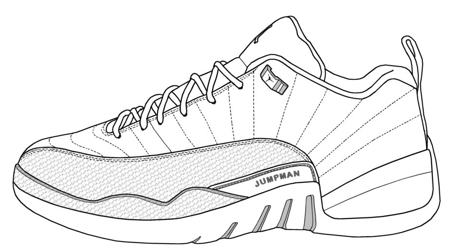Jordan 12 Coloring Pages - Jordan 12 Shoes Free Coloring Pages