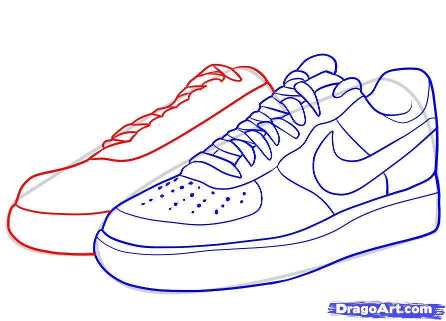 jordan shoes coloring pages - how to draw nike how to draw air force ones