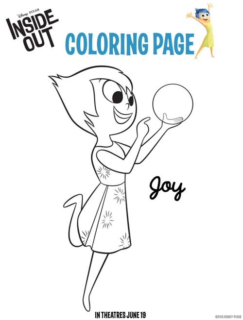 joy coloring page - disneypixar inside out coloring pages and activity sheets insideout