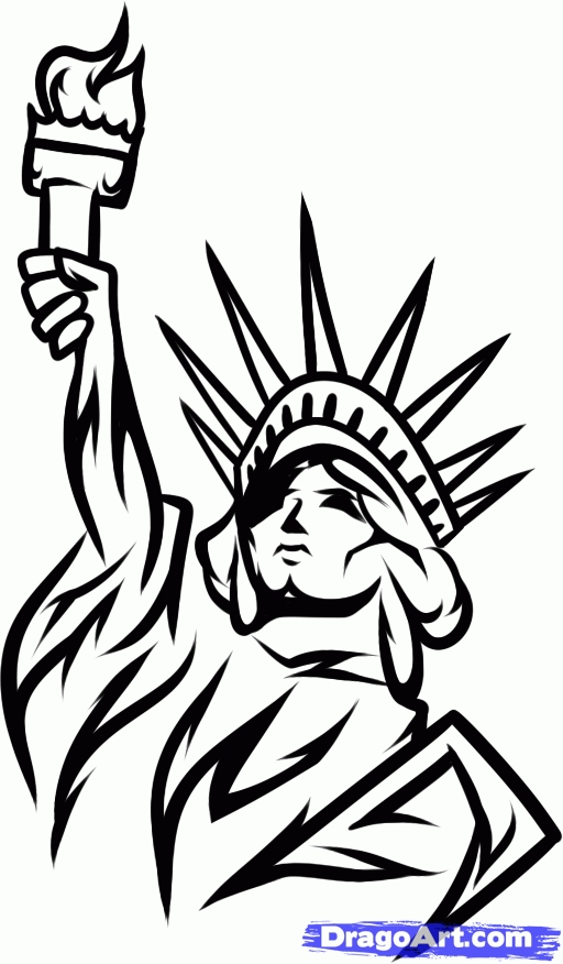 july 4th coloring pages printable - how to draw lady liberty