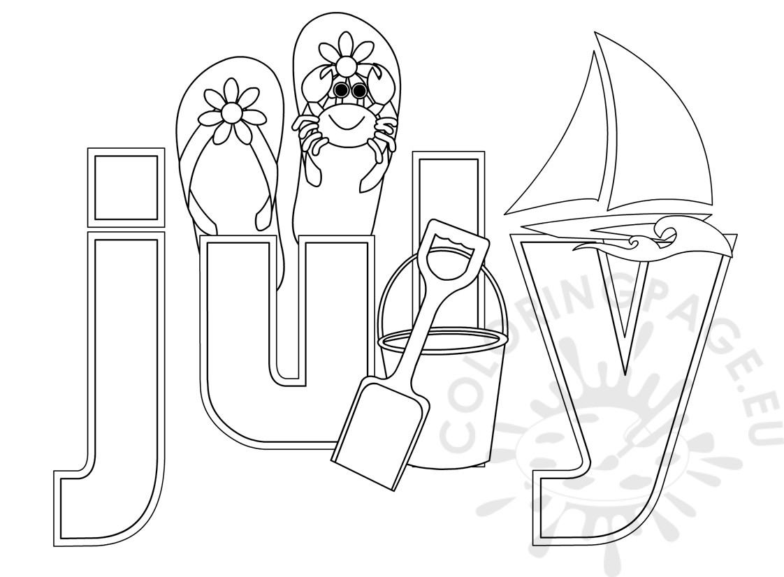 July 4th Coloring Pages Printable - Summer Month July Coloring Sheet