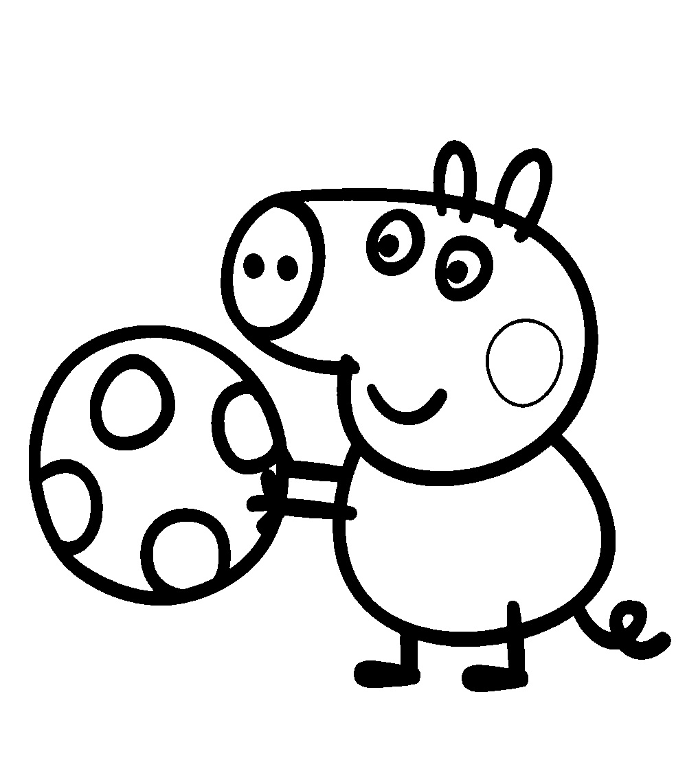 june coloring pages - peppa pig playing ball