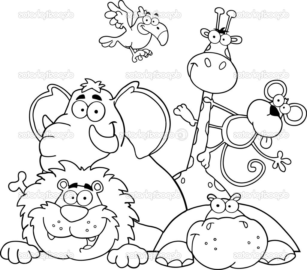jungle coloring pages - jungle animals coloring page