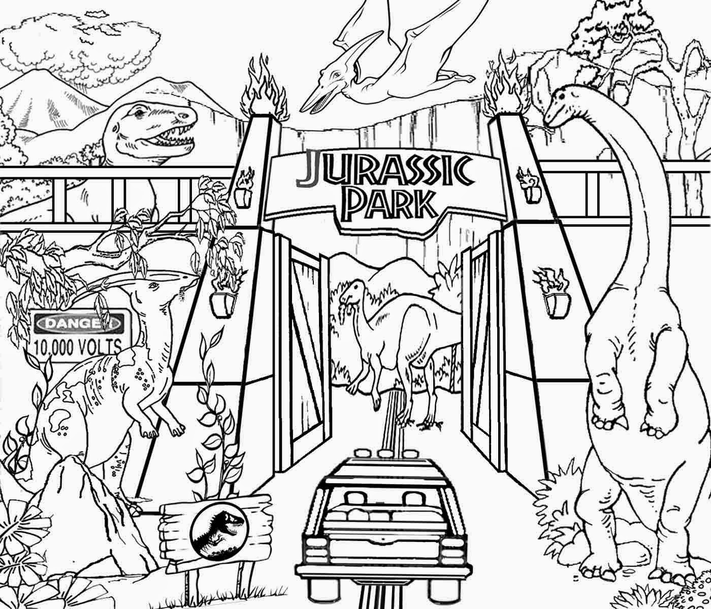 jurassic park coloring pages - discover volcano world of reptile king