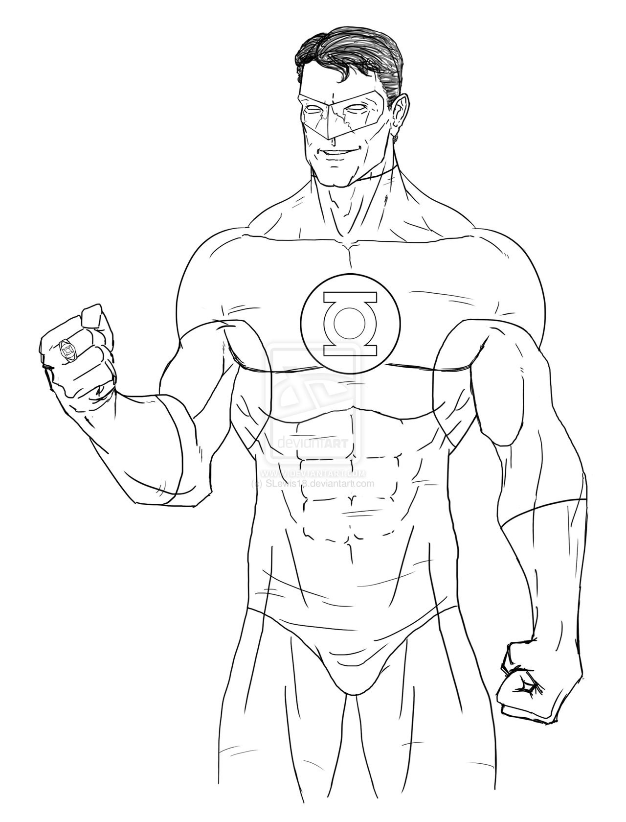 justice league coloring pages - Green Lantern digital sketch