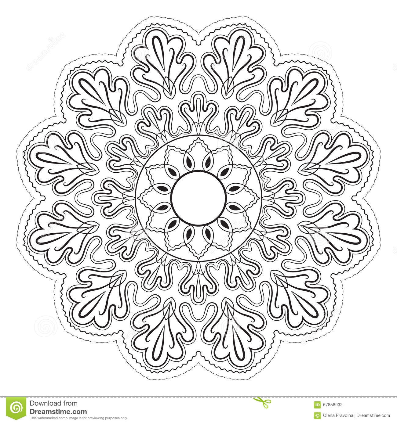 kaleidoscope coloring pages - stock photo black white abstract pattern mandala vector design template art image