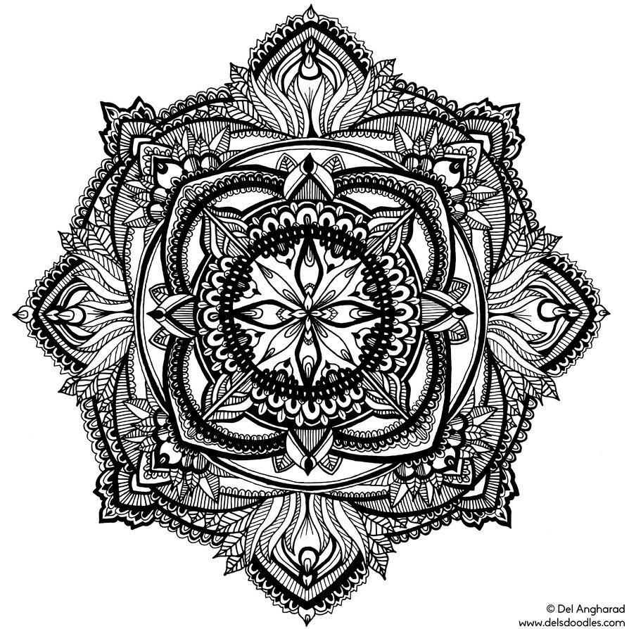 kaleidoscope coloring pages - Hand Drawn Mandala 2