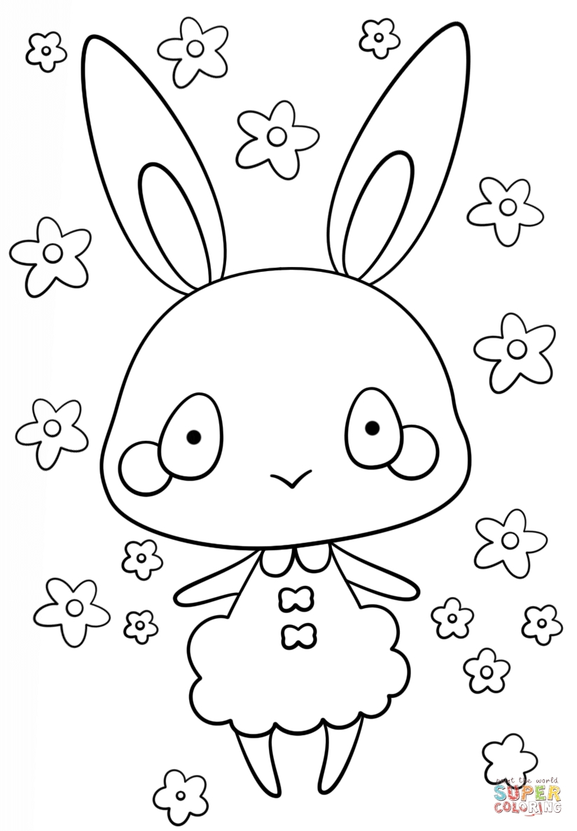 kawaii coloring pages - kawaii bunny girl version=print
