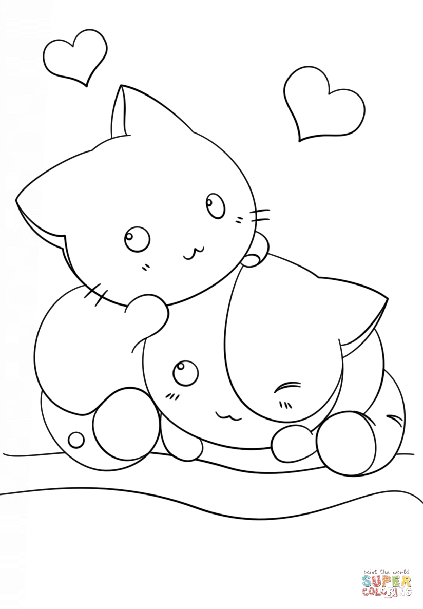 kawaii coloring pages - kawaii kittens