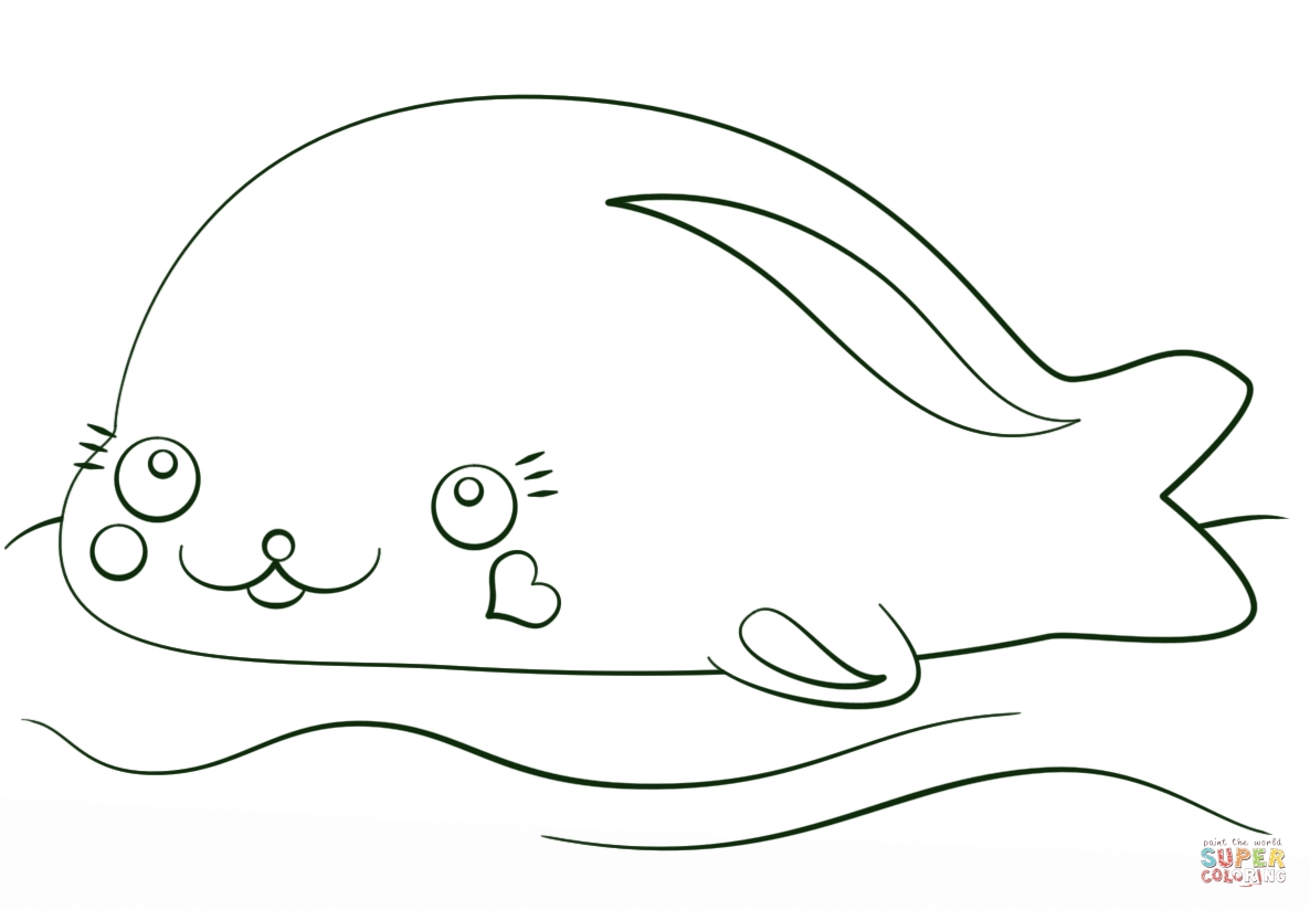 kawaii coloring pages - kawaii seal