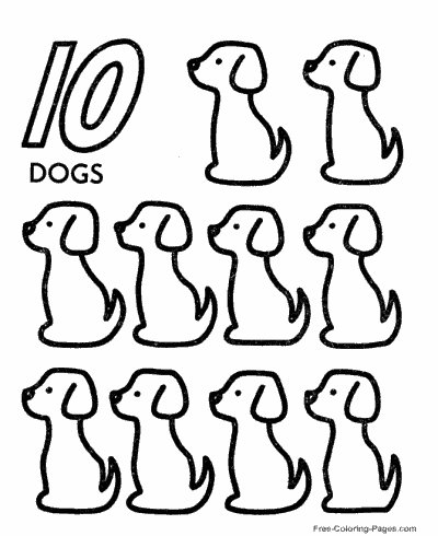 kindergarten coloring pages free - counting 4