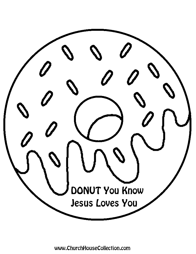 kindergarten coloring pages - donut you know jesus loves you cutout