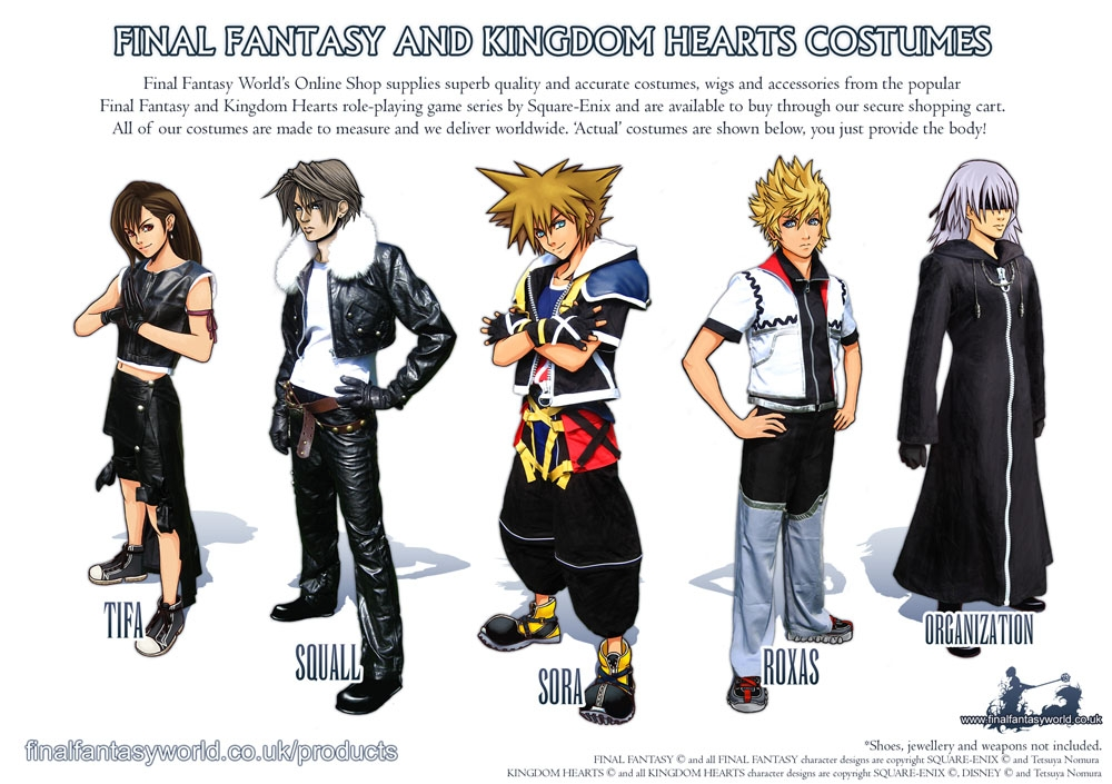 kingdom hearts coloring pages - Final Fantasy Costumes Ad