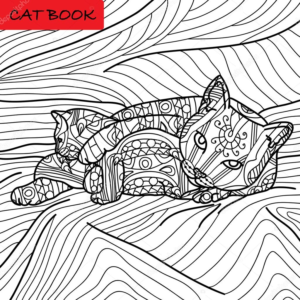 kitten coloring pages - stock illustration coloring cat page for adults