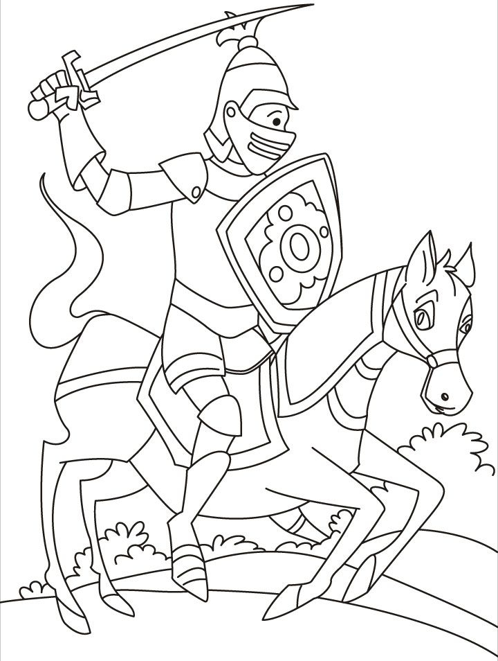 knight coloring pages - q=knights jousting
