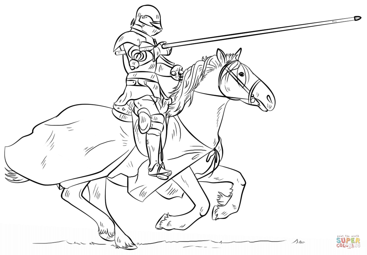 knight coloring pages - knight on horse