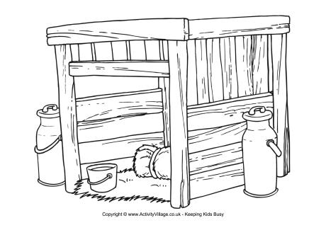 kwanzaa coloring pages - cow shed colouring page