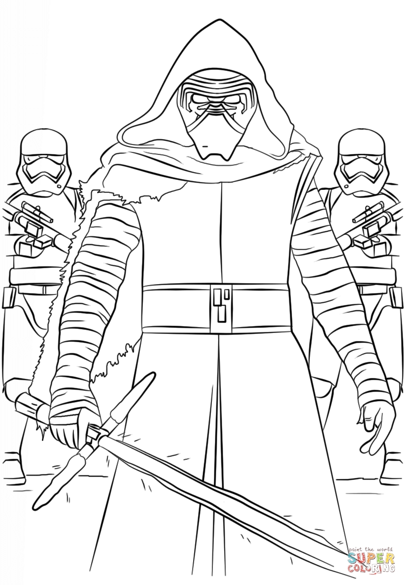 kylo ren coloring page - kylo ren and the first order stormtroopers